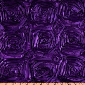 ArtOFabric Satin Rosette Tablecloth. 54 Inches X 108 Inches   Purple