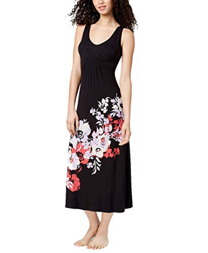 Alfani Womens Floral-Graphic Gathered-Waist Nightgown (Classic Black, X-Small)