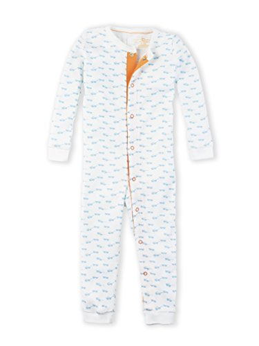 Colored Organics Baby Unisex Peyton Long Sleeve Organic Sleeper - White/Mist Sunglass Print - - Sunglasses Months 3 0