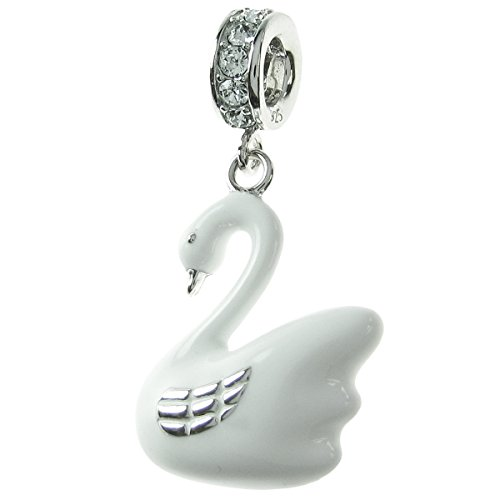 Dreambell Rhodium on Sterling Silver Swan Swarovski Elements Crystal Enamel European Dangle Charm ()