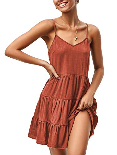 YIBOCK Women's Summer Sleeveless V Neck Button Pleated Swing Mini Sundress Tank Dress (B-Rust, S) Button Pleated Mini Skirt