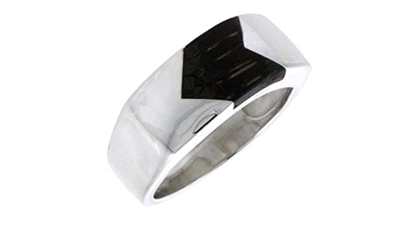 w//Ancient Wood Inlay 9//16 Wide Sterling Silver Striped Rectangular Ring 14mm Size 6