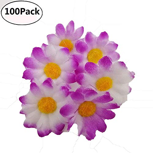 Fabric Daisy Flower Heads,100Pcs Artificial Gerbera Daisy Fake Flowers Heads Sunflower for Easter Bonnet DIY Cake,Wedding Party Decorations Flowers Craft (Purple)