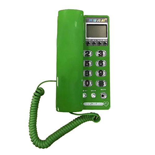 Landline Caller ID Display Home and Office Business Phone Wall Mount and Desktop Use Small Extension (Color : Green)