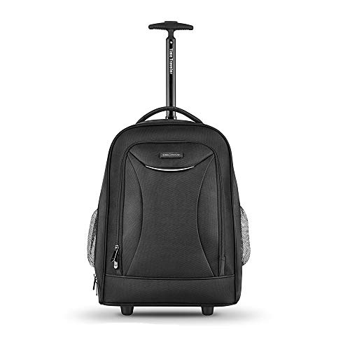 Wheeled Black Backpack, Travel Nylon Rolling Backpack, Carry-on Luggage