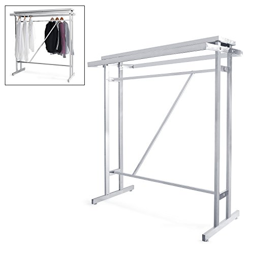 Sleek Modern Stainless Steel Double Rod Garment Clothing Rack with Display Storage Shelf by MyGift