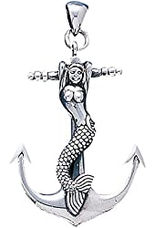 Siren of the Sea Naughty Mermaid on Anchor Large Sterling Silver Nautical Pendant