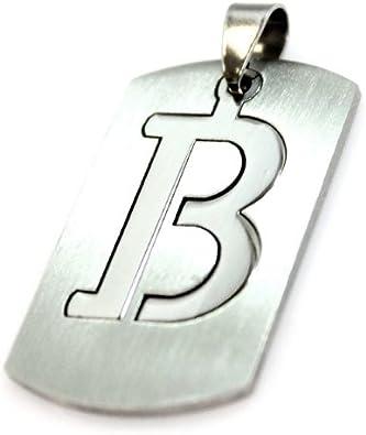 Carta Letra Iniciales B de chapa ejército Militar acero inoxidable colgante plata collar alfabeto: Amazon.es: Joyería