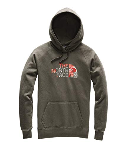The North Face Women's Half Dome Pullover Hoodie, New Taupe Green/Spiced Coral Desert Floral Print, Size S