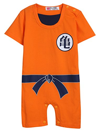 Singcoco Baby Boy Funny Goku Costume Romper (Orange, 0-6 Months)]()