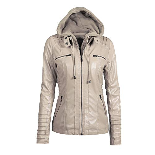 Clearance Sale! Caopixx Outwear for Womens Slim Leather Jacket Removable Zipper Caps Hooded Coats Overcoat