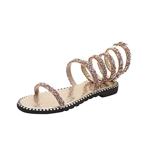 (Copercn Women's Ladies Multicolor Crystal One Band Open Toe Flower Decoration Spiral Tie Up Thin Heel Flat Sandals Summer Refreshing Casual Roman Gladiator Sandals Beach Shoes )