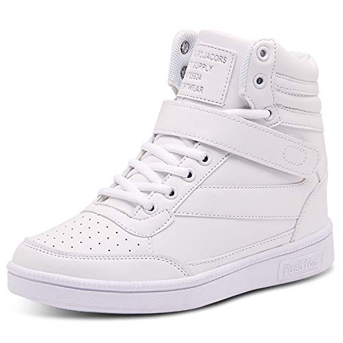 Barerun Women's Walking Shoes High-Heeled Sneakers Lace-Up High-Top Walking Shoes White 7.5 M US Women