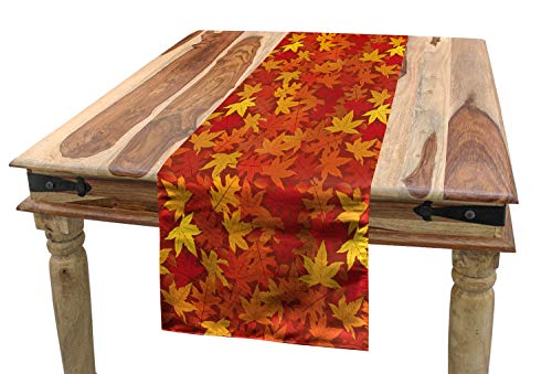 - Ambesonne Orange Table Runner, Colorful Autumn Fall Season Maple Leaves in Unusual Designs Nature Print, Dining Room Kitchen Rectangular Runner, 16