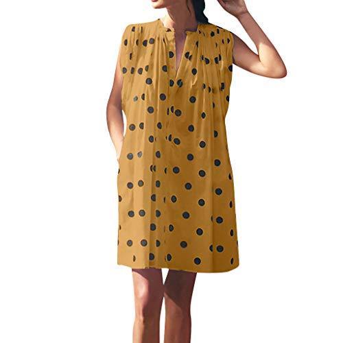 - Womens Summer Dress Sleeveless Dot Print Loose Mini Party Sundress Pocket Shirt Dress Yellow