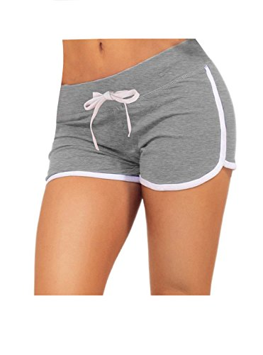 Drawstring Running Shorts (Yoga Running Workout Shorts Tankoo Athletic Elastic Waist Grey)