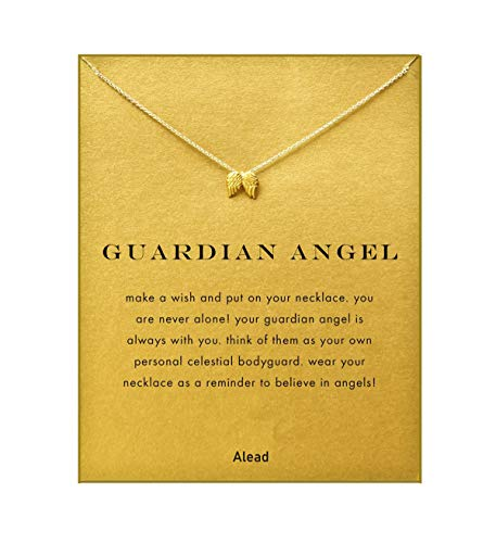 ALEAD Fashion Simple Angel Wings Pendant Necklace with Message Card Gift Card Mother's Day Women's Day Valentine's Day Graduation Ceremony Birthday Party Gift angel wings lovers gift(Angel Wings-Gold)]()