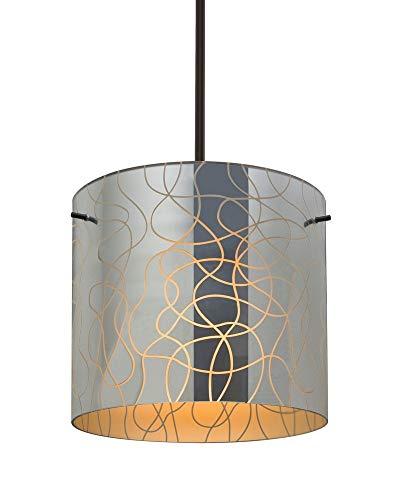 Besa Lighting 1TT-LITH12OR-BR Lithium 12 - One Light Stem Pendant, Bronze Finish with Lithium Orange Glass ()