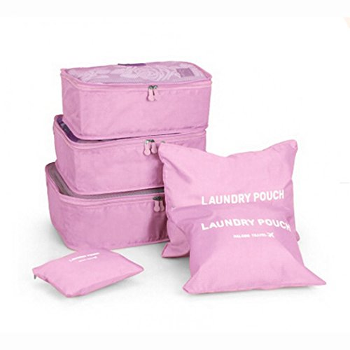 6-Piece Packing Cube Set Waterproof Travel Storage Bags Clothes Packing Cube Luggage Organizer Pouch by SMYTShop (Pink)