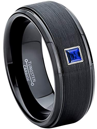 0.10ctw Solitaire Princess Cut Blue Sapphire Tungsten Ring - 8MM Brushed Stepped Edge Black Tungsten Carbide Wedding Band - September Birthstone Ring - s8 ()
