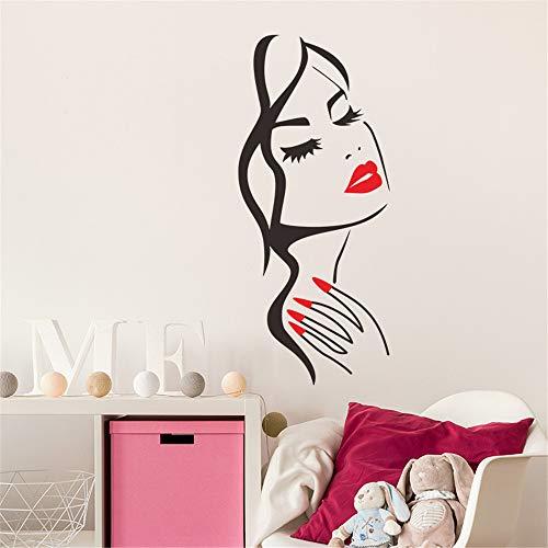 Quaanti Wall Decal Beauty Salon Manicure Nail Salon Hand Girl Face Vinyl Sticker Home Decor Hairdresser Hairstyle Wall Sticker (Multicolor)