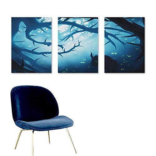 Mystic Graffiti Canvas Painting Animal with Burning Eyes in The Dark Forest at Night Horror Halloween Illustration Contemporary Abstract Art 3 Panels 16x31inch Navy -