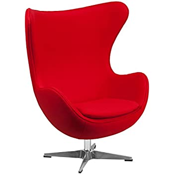 Flash Furniture Red Wool Fabric Egg Chair With Tilt Lock Mechanism