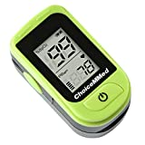 ChoiceMMed Light Green Finger Pulse Oximeter - Blood Oxygen Saturation Monitor - SPO2 Pulse Oximeter - Portable Oxygen Sensor Included Batteries - O2 Saturation Monitor Carry Pouch