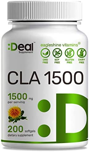 Deal Supplement CLA 1500mg Per Serving, 200 Softgels, Super Extra Strength 95% Conjugated Linoleic Acid from Safflower Oil, Manage Weight and Lean Muscle 1