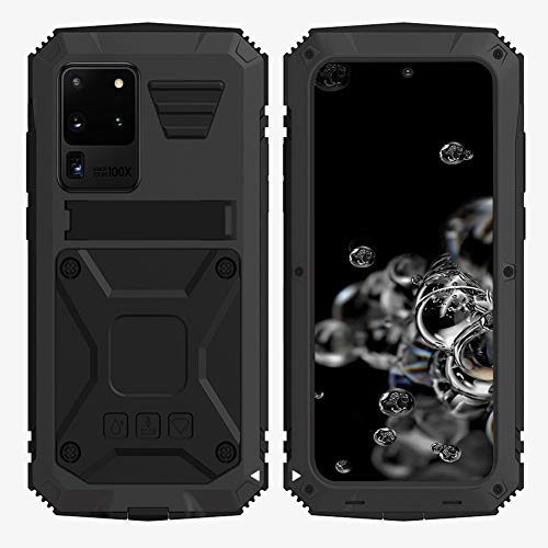 HATA Samsung S20 Plus Metal Rugged Military Hybrid case Silicone Defense S20 Plus Heavy Duty case with Screen Protector Stand Tough Full Body case for Man Gift (Black, S20 Plus)