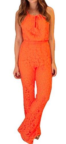 Bigood Combinaison Sexy Femme Dentelle Bandage Sans Manche Orange