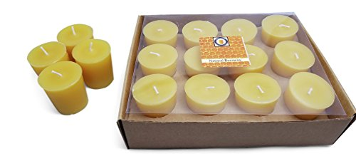 Hubbardston Candle Company Natural Honey Scented 100% Beeswax Votives, Hand Poured (12)