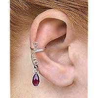 8417c3715 Silver Dangle Ear Cuff with Purple Swarovski Beads - Ear Cuff Earring,  Beaded Silver No