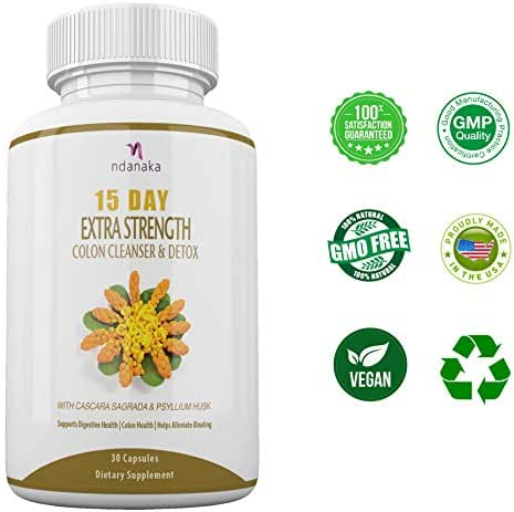 Detox and Colon Cleanse for Weight Loss, Reduce Belly Fat, Extra Strength Diet Pills with Natural Laxatives, Fiber, Acidophilus, Promotes Healthy Bacteria in Intestines 15 - Day Colon Cleansing Detox