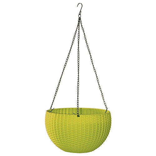 Almi Hanging Planter 11-Inch Round Decor Garden Flower Pot Basket for Plant, Lime Green