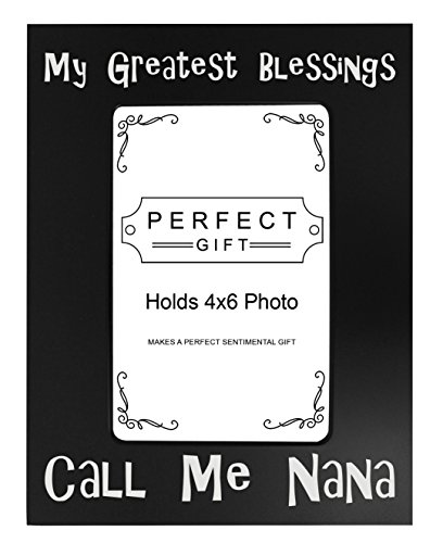ThisWear Nana Gifts My Greatest Blessings Call Me Nana Best Nana Gifts New Grandma Black Steel Metal Engraved 4x6 Portrait Picture Frame Steel Metal