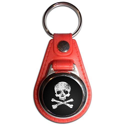 Distressed Skull and Crossbones - Red Plastic / Metal Medallion Coulor Key (Crossbones Medallion)
