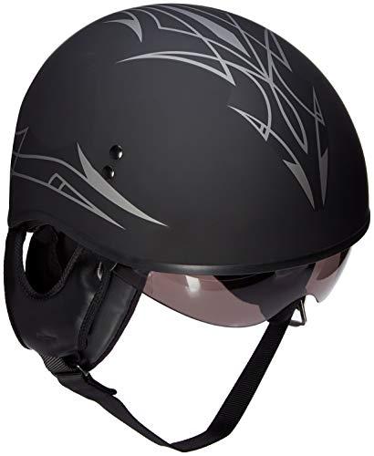 GMAX Unisex-Adult Full-face Style G1658075 Gm65 Pin Naked Half Helmet Flat Black/Dark Silver m Medium