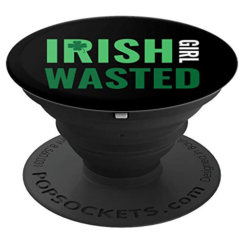 St. Patricks Day Irish Girl Female Drunk - PopSockets Grip and Stand for Phones and Tablets