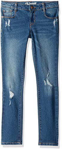 Crazy 8 Big Girls' Basic Skinny Jean, Dark Wash Distressed, 5 ()
