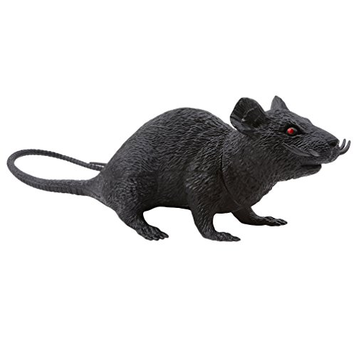 DONGMING Realistic Fake Mouse Prank Toy Decoration Prop Plastic Rats Mouse Model Figures Kids Halloween Tricks Pranks Props Toy Looking Spooky Mice Festival Horror Scary Toys,Large Black