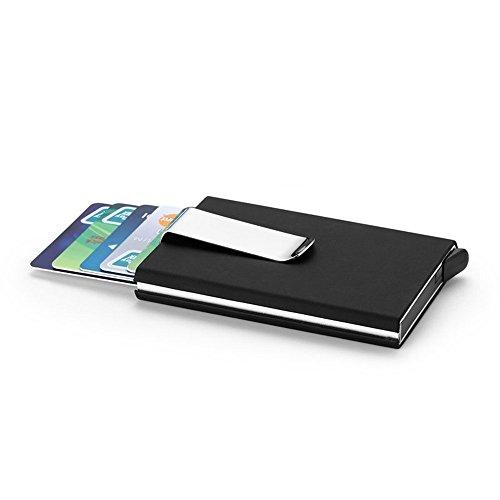 Rfid Blocking Credit Card Holder, XSLEGO Business Card Holder Protector Magic Pop Up Aluminum Wallet Money Clip (Black)