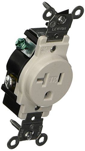 - Leviton T5020-W 20-Amp 125-Volt NEMA 5-20R, 2-Pole, 3W, Narrow Body Single Receptacle, White