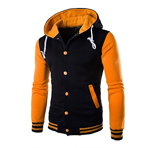 Jacket Hooded HARRYSTORE Retro Button Yellow Sleeve Sweatshirt Hoodie Hooded Outerwear Slim Long Men qaZZnRAt