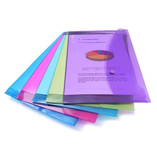 Rapesco 0688 Dokumententasche mit Druckknopf DIN A4+ Transparent Farblich sortiert 5 Stück