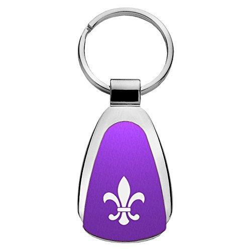 Au-TOMOTIVE GOLD Compatible Keychain and Keyring for Fleur-De-Lis [KCPUR.FDL] - Purple Teardrop