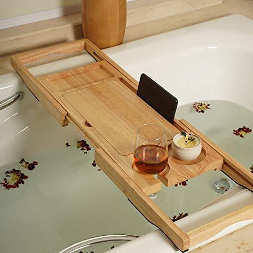 ZhaoLiRuShop Bathtub Trays Bath Caddy Bath Tray Bath Board Solid Wood Telescopic Non-Slip Bathtub Frame Mildew Bath Bracket Bath Tub Barrel Bath Bracket (Color : Natural, Size : 62.5-9520cm) by ZhaoLiRuShop (Image #4)