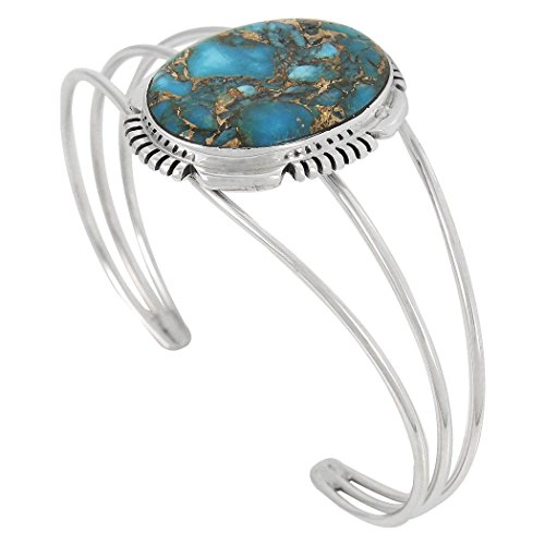 (Turquoise Bracelet Sterling Silver 925 Copper-Infused Matrix Turquoise (Teal/Matrix))