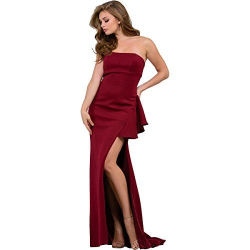 Jovani Side Slit Strapless Formal Dress Red (Prom Dresses By Jovani)