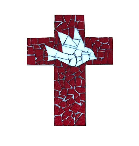 9 inch X 6 inch Handcrafted Mosaic Dove Wall Cross, Ivory and Red stained glass with charcoal colored ()